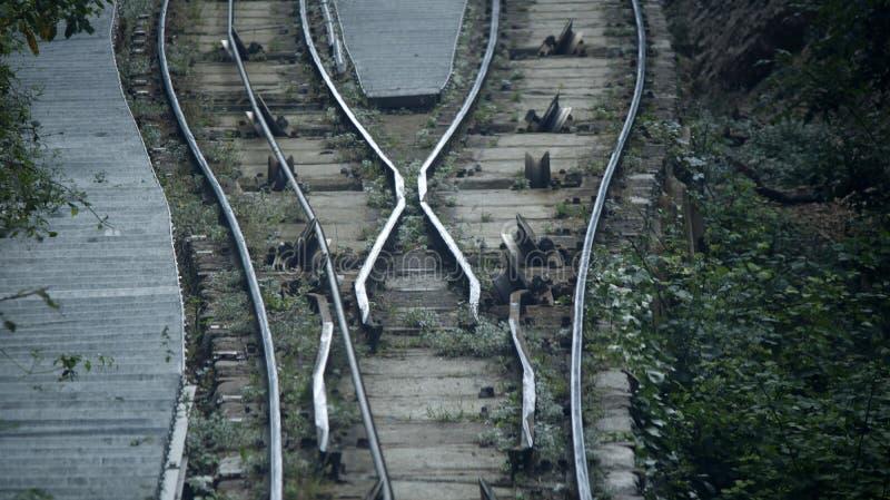 缆索铁路的路轨细节 免版税库存图片