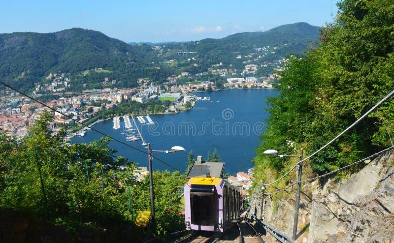 缆索铁路的Como湖,伦巴第意大利夏天2016年 免版税库存照片