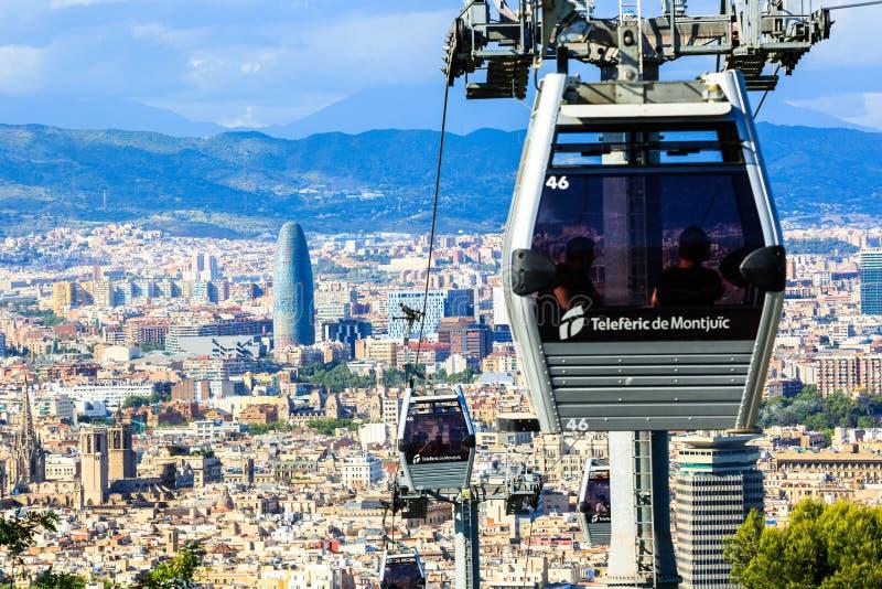 缆索铁路的Montjuic,巴塞罗那panaramic看法  免版税图库摄影