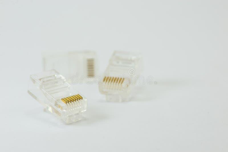 缆绳RJ45头插座网络连接 免版税库存图片