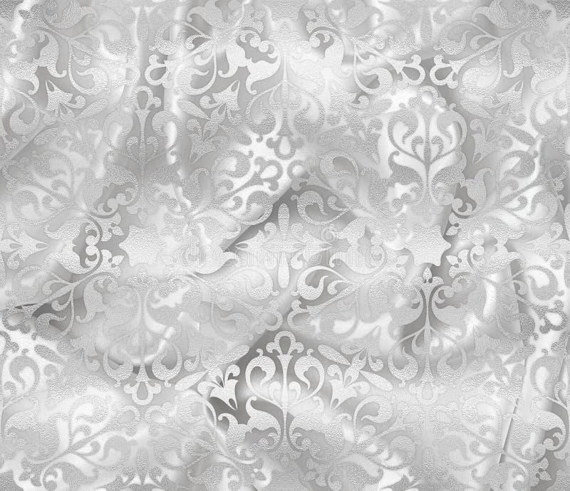 缎和银设计背景 白色丝绸典雅的折叠  免版税库存图片
