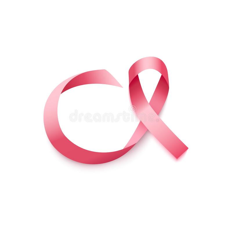 缎或丝绸桃红色卷曲丝带或圈在现实样式 向量例证