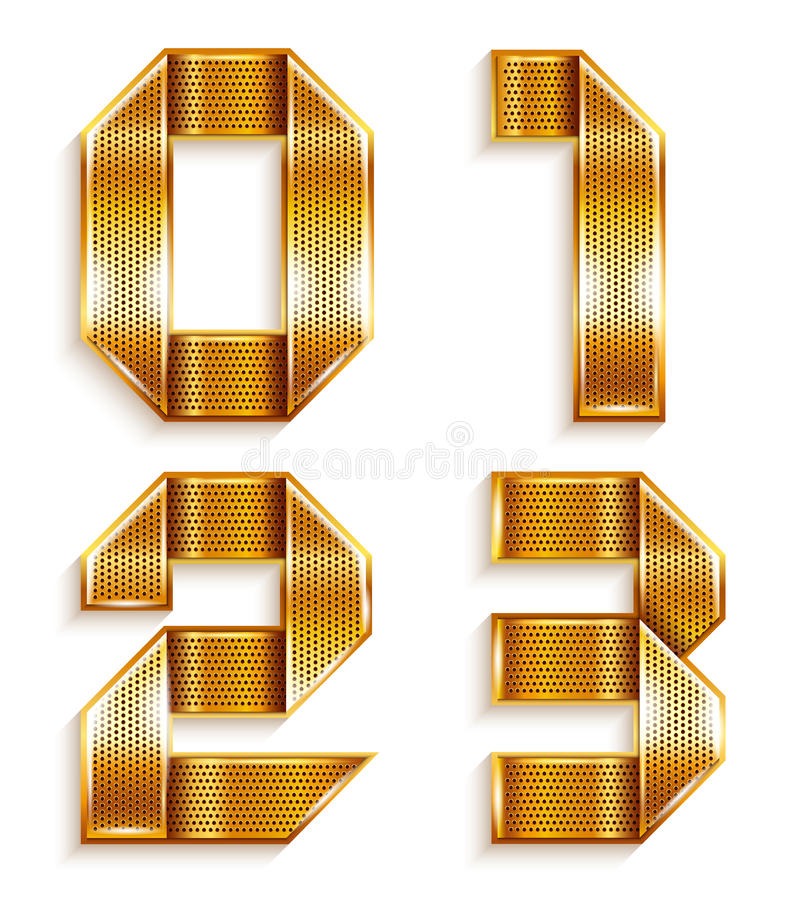 编号金属金丝带- 0,1,2,3 皇族释放例证