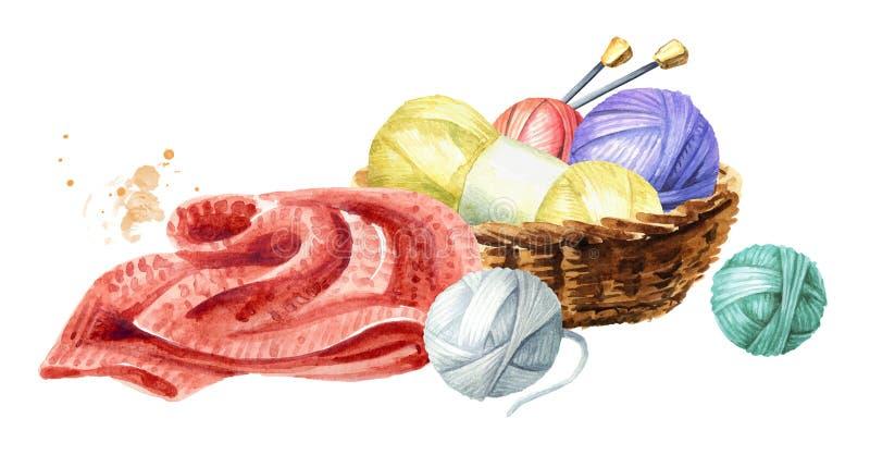 编物纱球、编织针和一件被编织的毛线衣 编织的概念,被隔绝的水彩手拉的例证  库存例证
