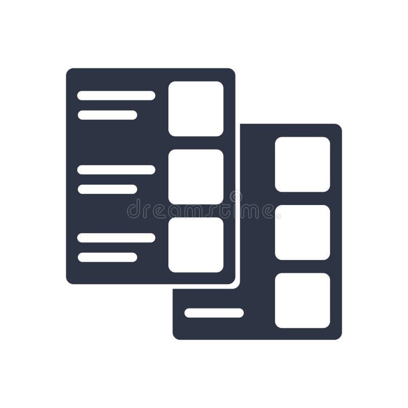 编目象在白色背景和标志隔绝的传染媒介标志,编目商标概念 向量例证