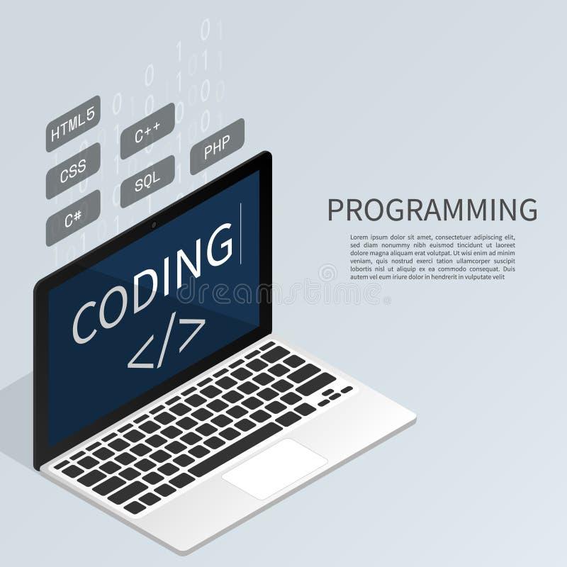 编码二进制计算机等量平的传染媒介的程序员 向量例证