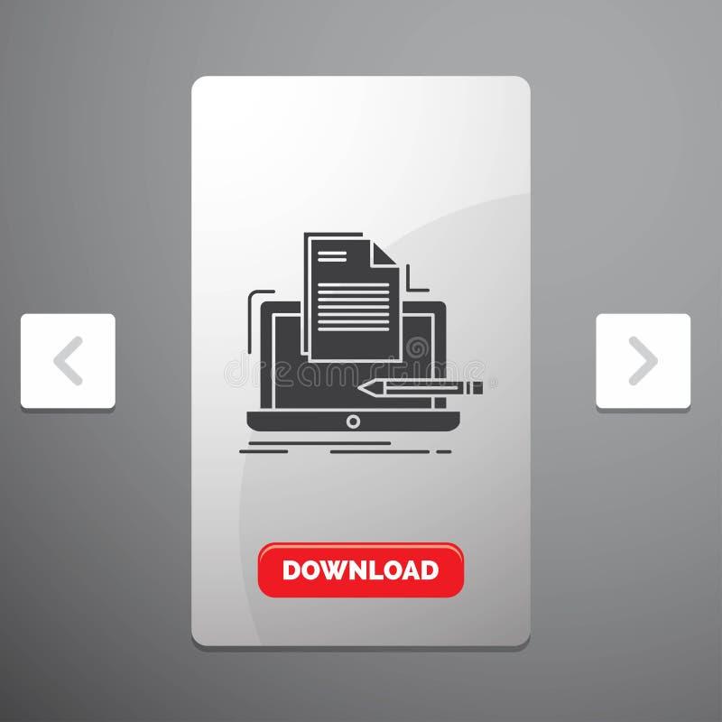 编码人、编制程序、计算机、名单、纸纵的沟纹象在喧闹的酒宴页码滑子设计&红色下载按钮 向量例证