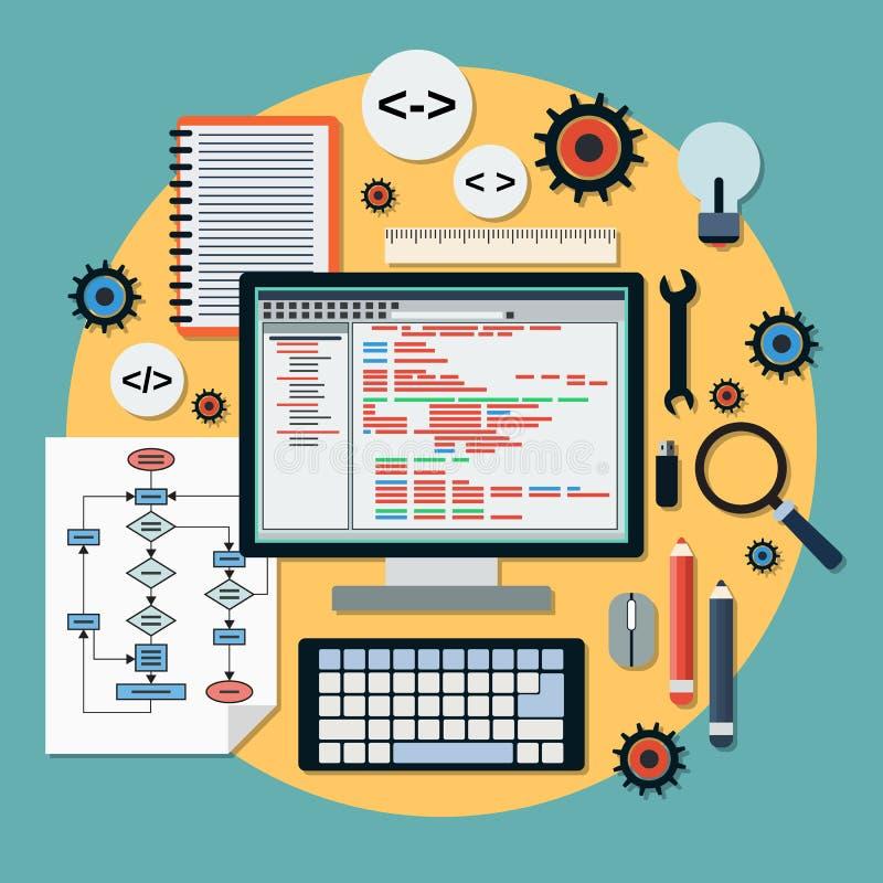 编码传染媒介概念的节目 向量例证