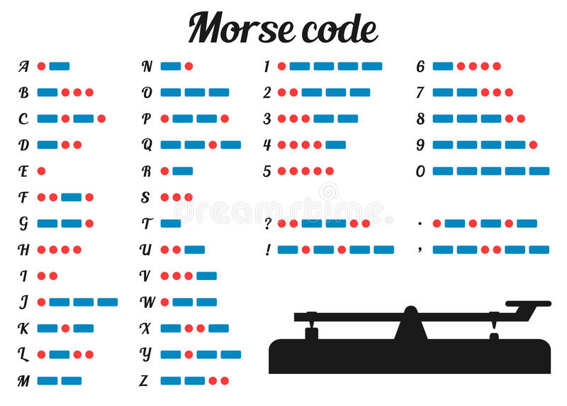 编码例证信函莫尔斯编号标点集合向量 库存例证