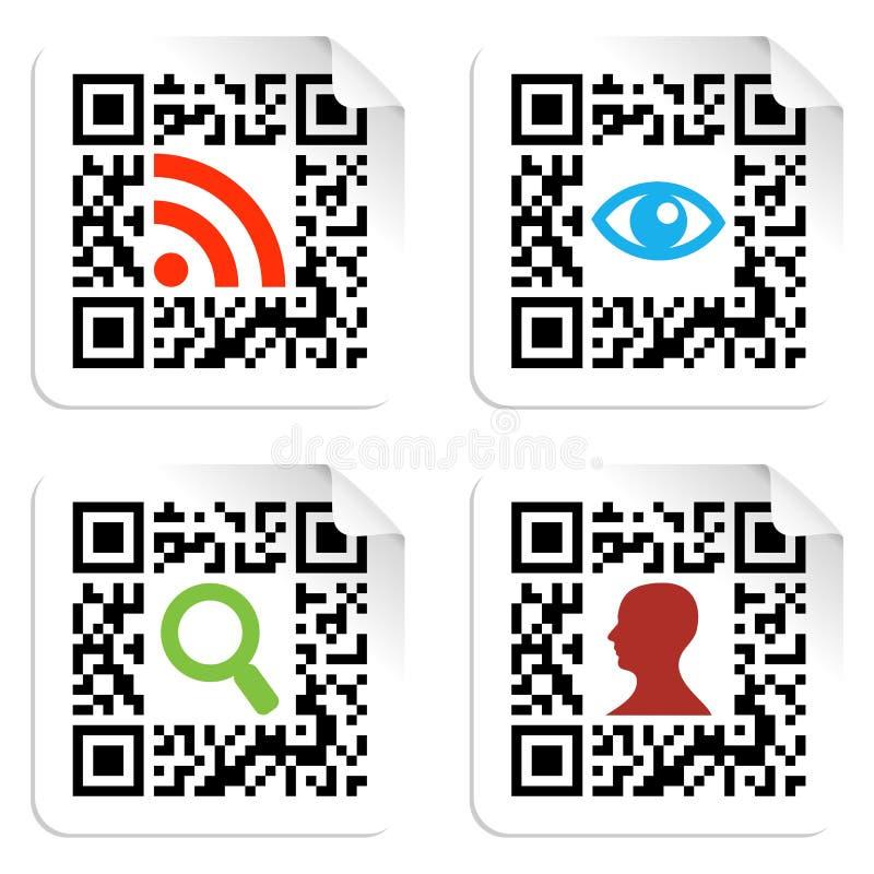 编码图标标签qr集合符号社交 库存例证