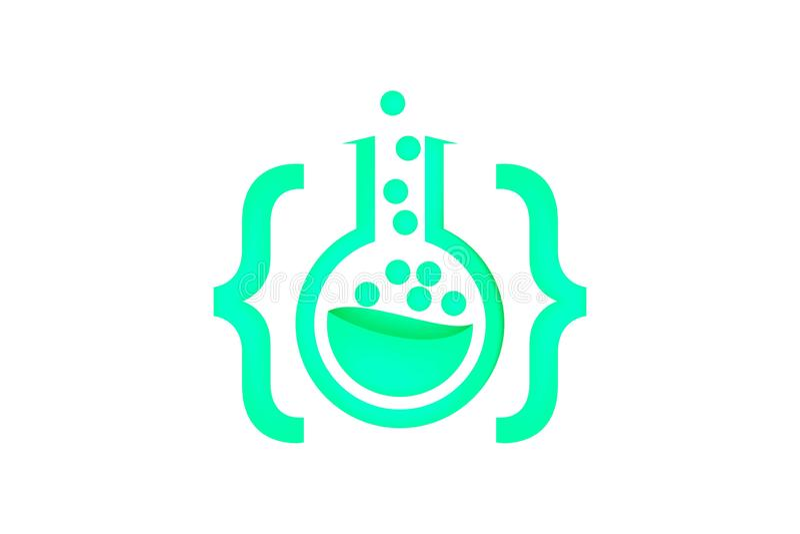 编码实验室被隔绝的商标启发在白色背景 皇族释放例证
