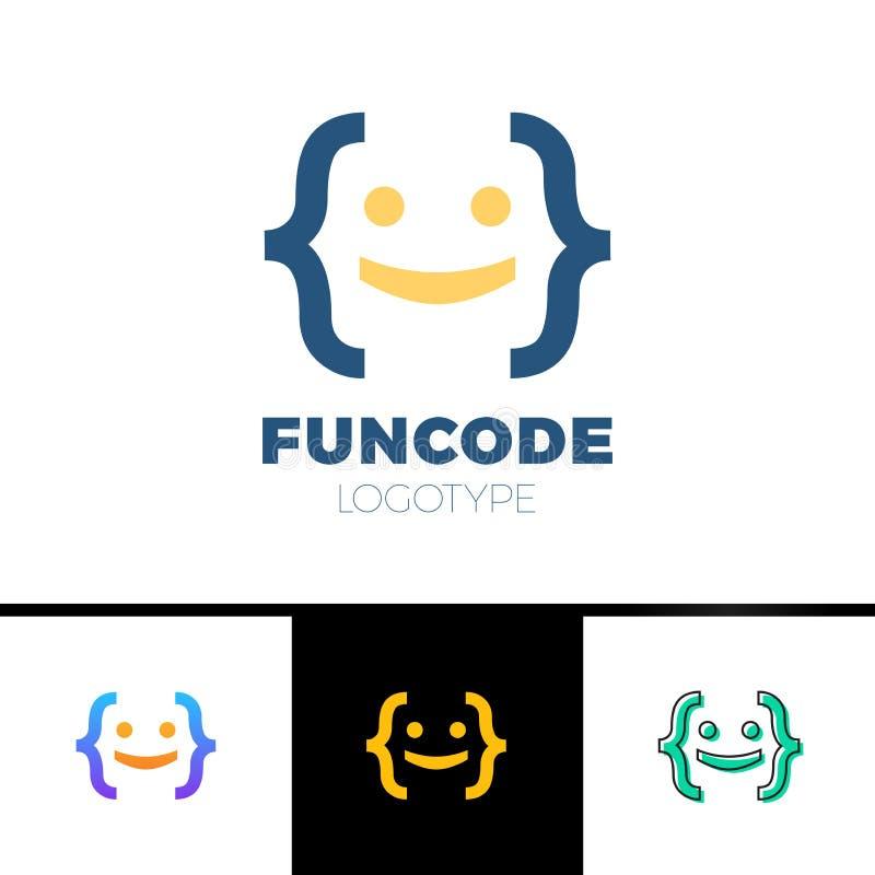 编码托架人商标-微笑人头完成与托架 向量例证