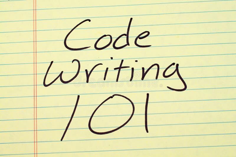 编码文字101在一本黄色便笺簿 图库摄影