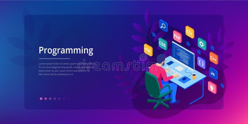编码新的项目的等量程序员 网络开发商,编程的概念 登陆的页或流动网站发展 向量例证