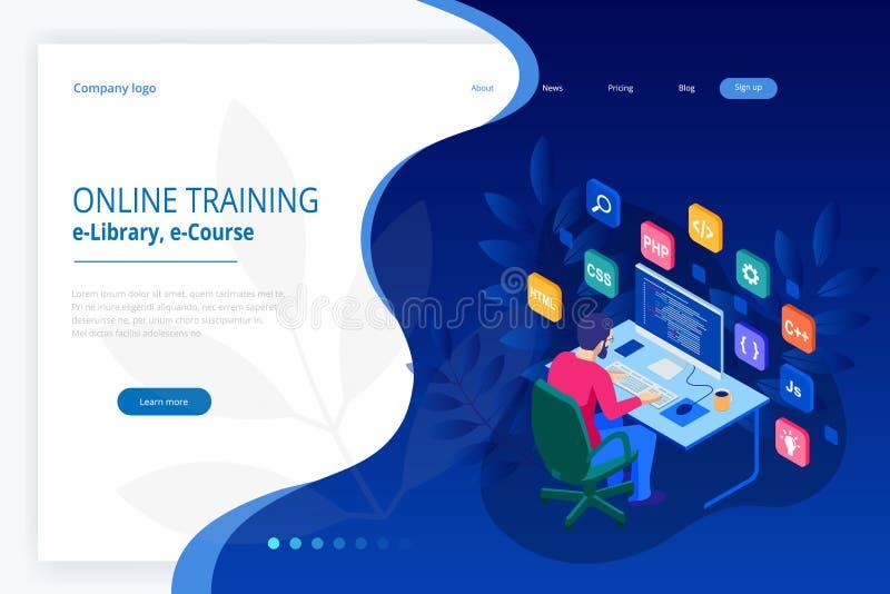 编码新的项目的等量程序员 网络开发商,编程的概念 登陆的页或流动网站发展 皇族释放例证