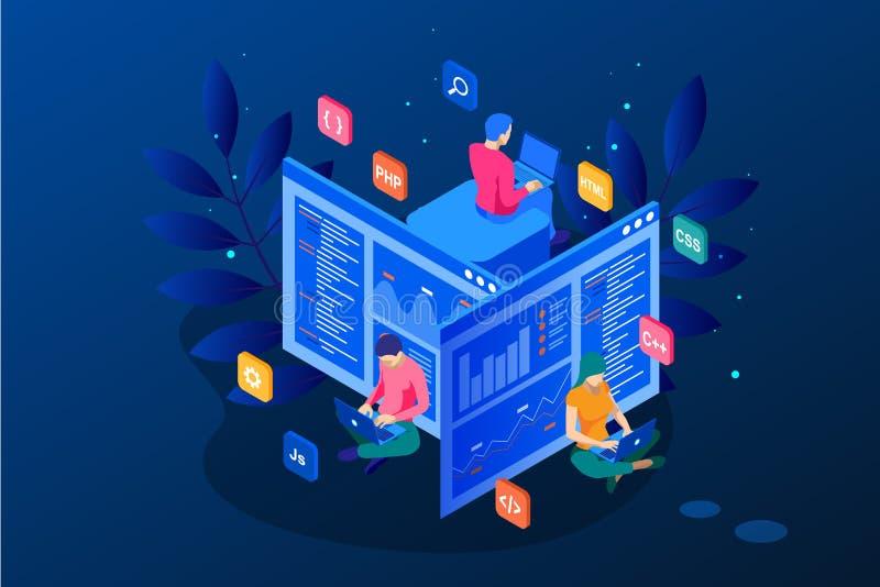 编码新的项目的等量程序员 网网站的发展和编程技能 网横幅例证 皇族释放例证