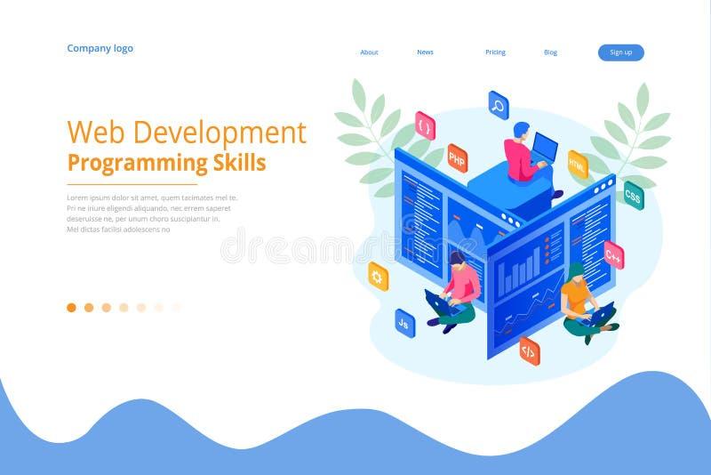 编码新的项目的等量程序员 网网站的发展和编程技能 网横幅例证 向量例证