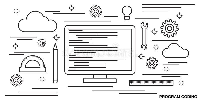 编码的节目,应用开发传染媒介概念 向量例证