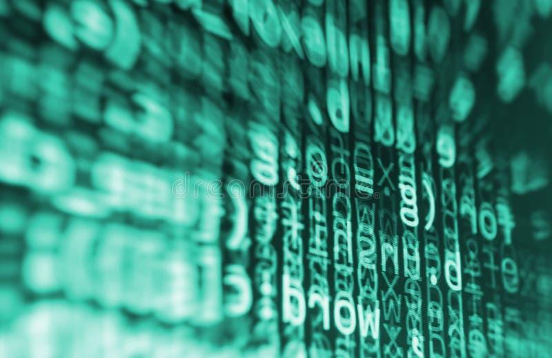 编码编程的原始代码屏幕 五颜六色的抽象数据显示 软件开发商网节目剧本 库存照片