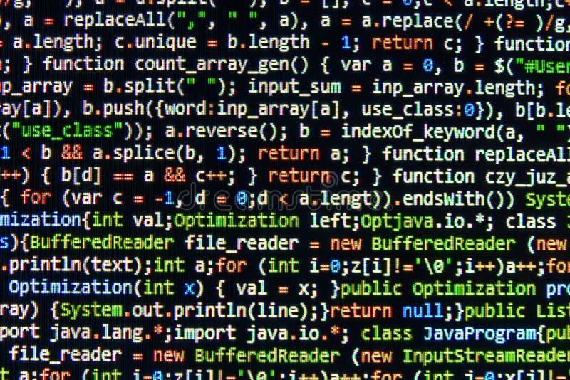 编码编程的原始代码屏幕 五颜六色的抽象数据显示 软件开发商网节目剧本 向量例证