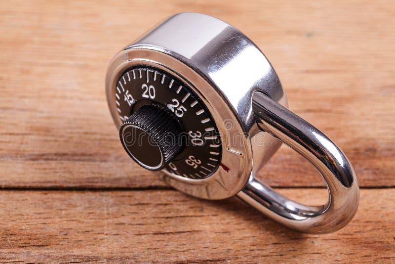 编码锁在木书桌 图库摄影