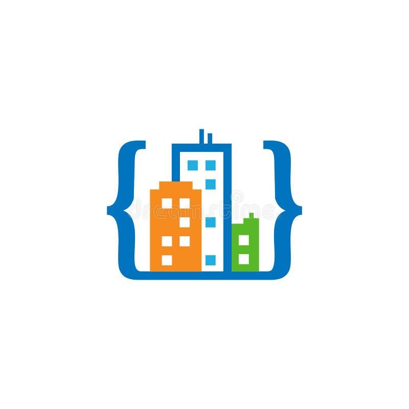 编码镇商标象设计 向量例证