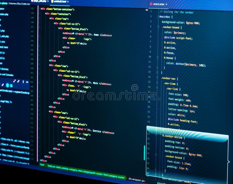 编码html和css在IDE,宏指令 网发展 软件原始代码 库存图片
