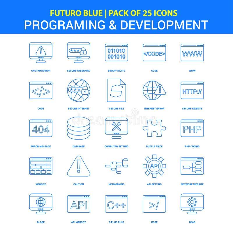 编程和发展象- Futuro蓝色25个象组装 皇族释放例证
