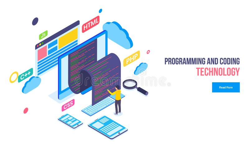 编程和编码技术概念根据敏感banne 库存例证
