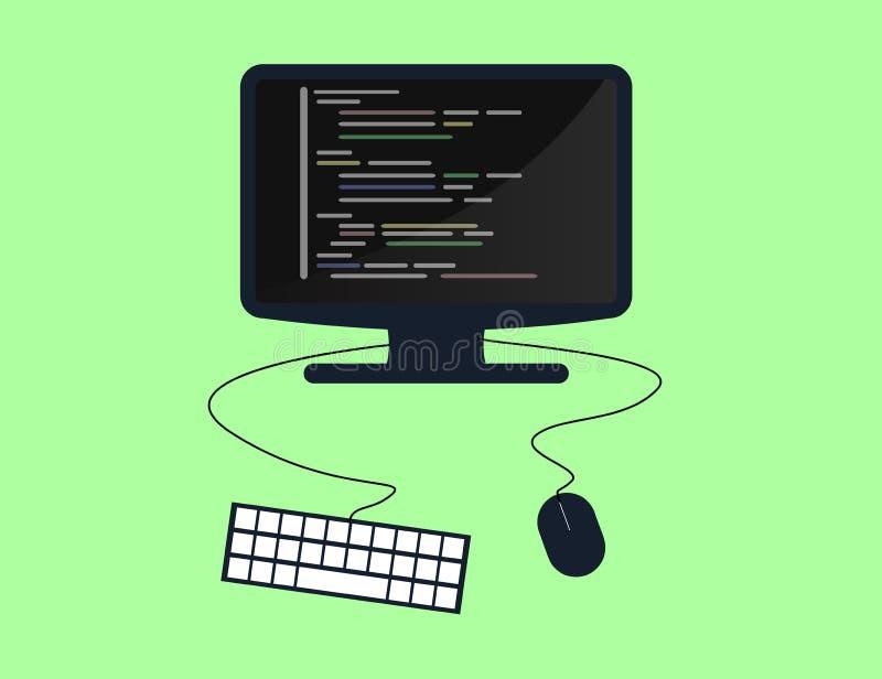 编程和编码概念,网站发展,网络设计 平的例证 库存例证