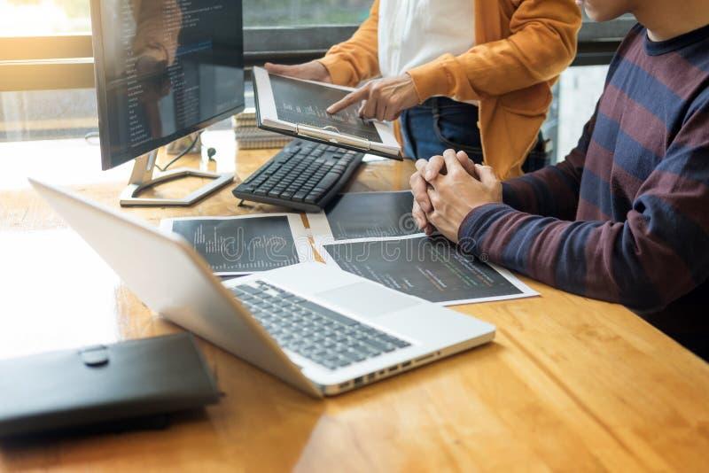 编程和编码软件设计师的程序员工作  免版税图库摄影