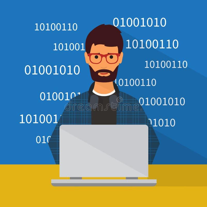 编程和编码 平的传染媒介 库存例证