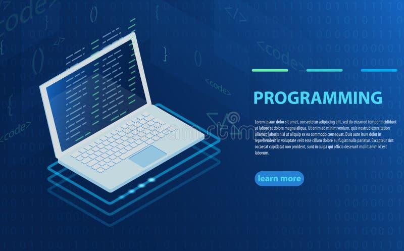 编程和软件开发,在膝上型计算机屏幕上的节目代码,大数据处理,计算等量 库存例证