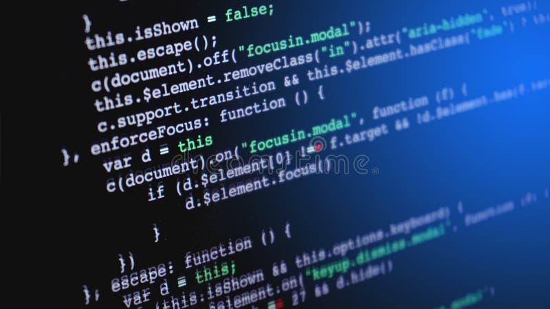 编程在计算机屏幕上的原始代码  免版税库存图片