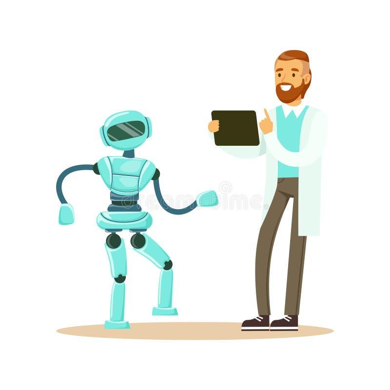 编程有人的特点的两足动物机器人在他的片剂,未来技术概念传染媒介的白色工作服的年轻男性工程师 向量例证