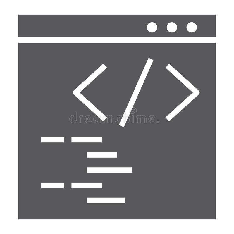 编程的纵的沟纹象、网站和发展,浏览器标志,向量图形,在白色背景的一个坚实样式 皇族释放例证