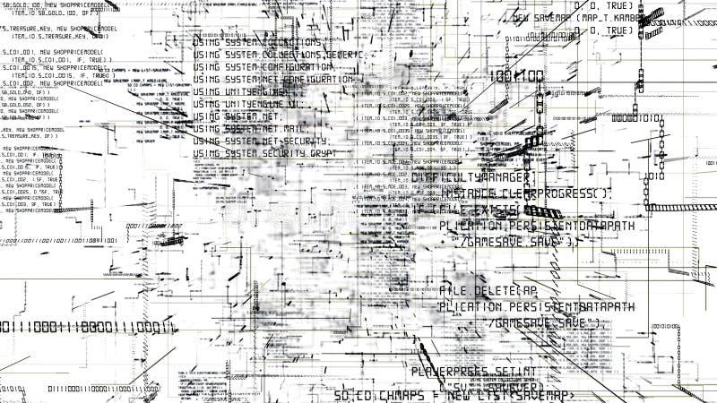 编程黑暗的代码无缝的flythrough的未来派摘要 向量例证