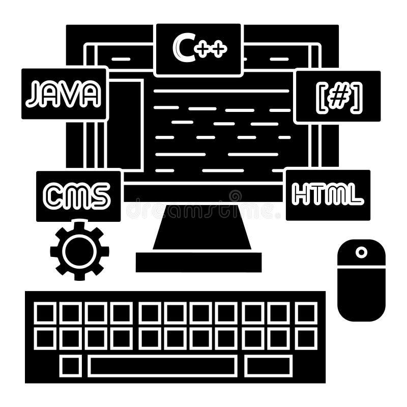 编程-编制程序-婚姻开发商象,传染媒介例证,在被隔绝的背景的黑标志 库存例证