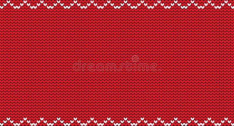 编织与空的空间的圣诞节红色背景文本和白色Z形图案的 皇族释放例证