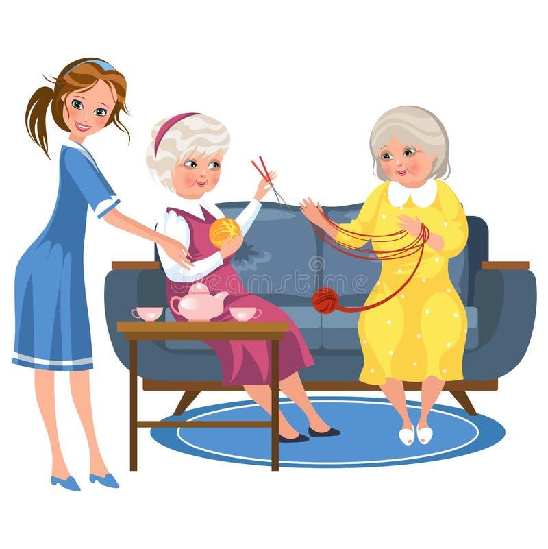 编织在沙发的动画片老朋友开会 库存例证