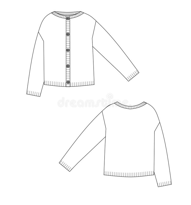 编织夹克技术剪影前面和后面 库存例证