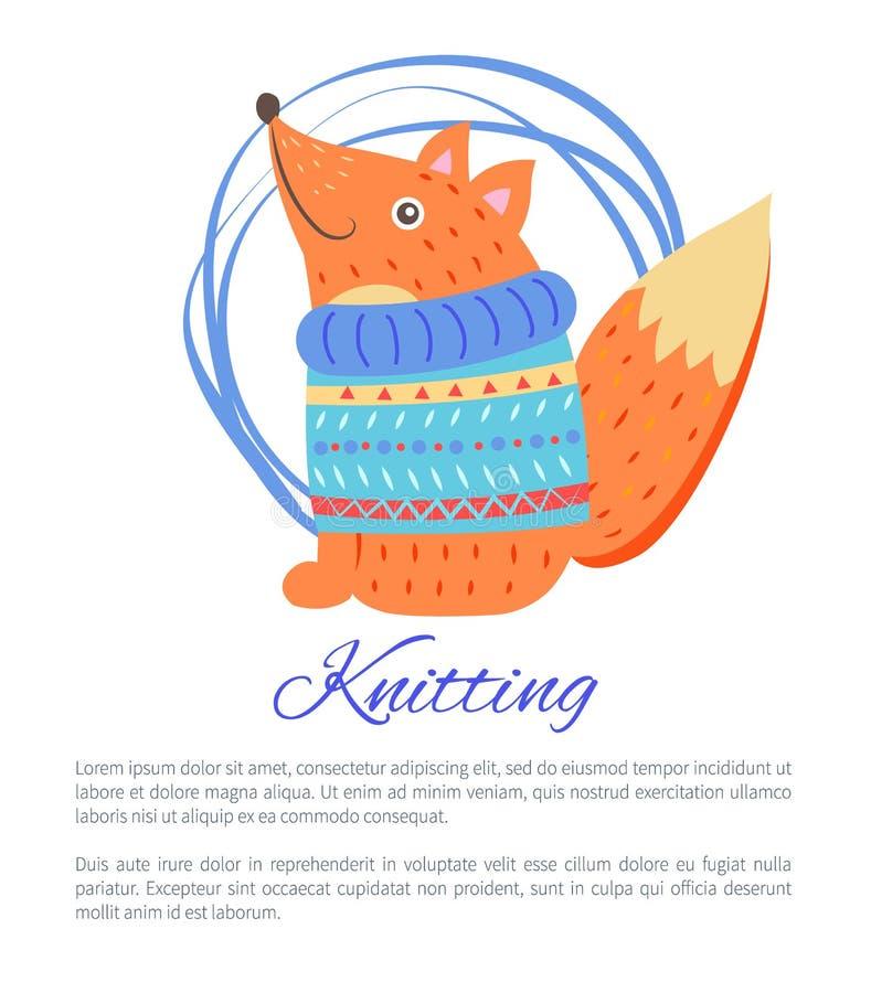 编织的蓝色毛线衣滑稽的玩具Fox传染媒介海报 皇族释放例证