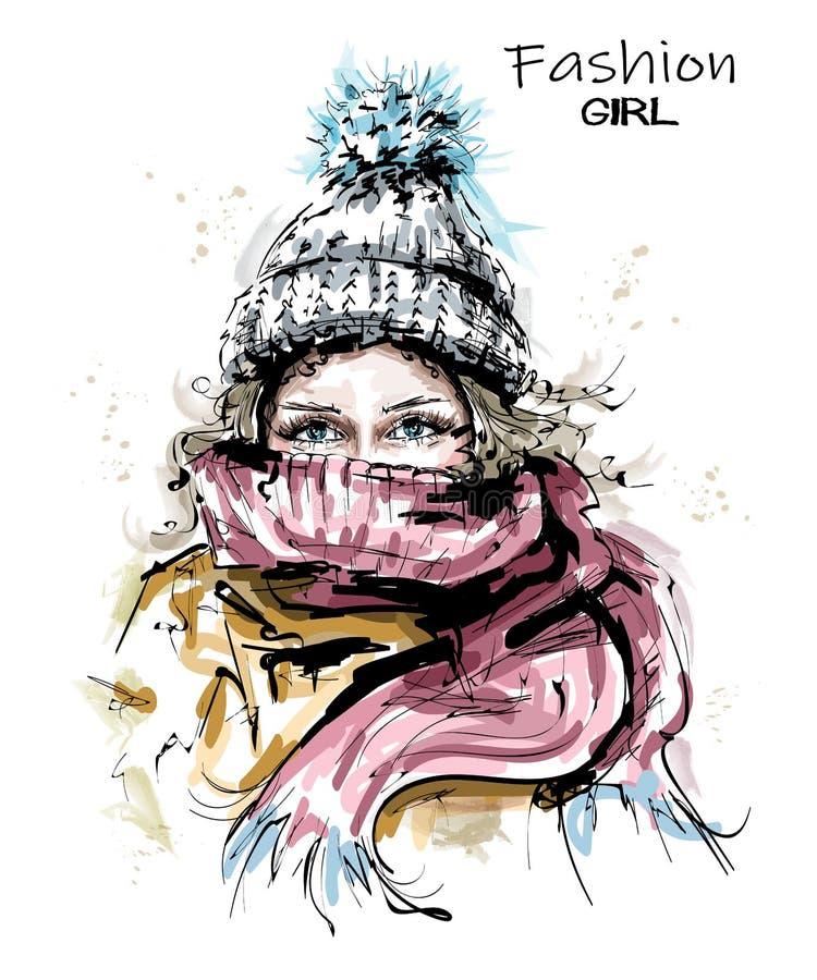 编织盖帽的手拉的美丽的年轻女人 时髦的冬天神色 有围巾的时尚妇女 库存例证