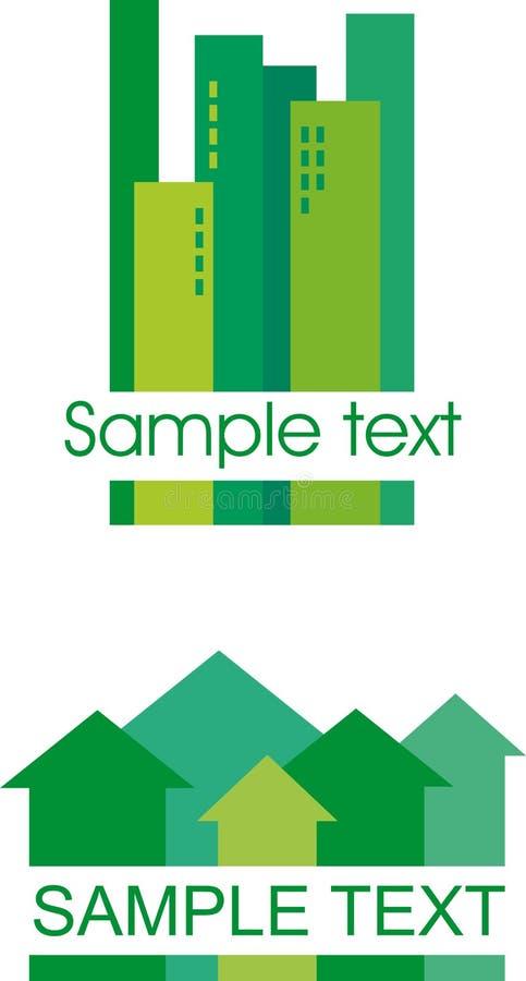 编译的绿色图标 库存例证
