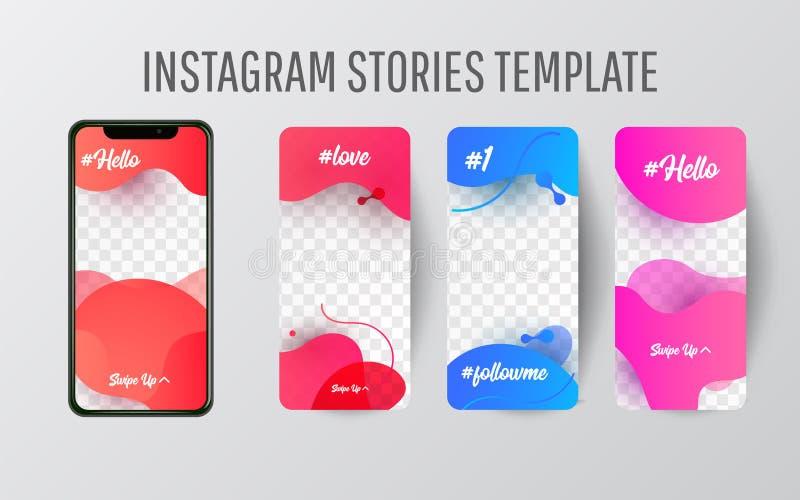 编辑可能的Instagram故事模板 放出 库存例证