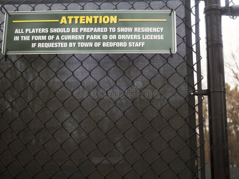 编辑i d 纽约贝德福德镇网球场 库存照片