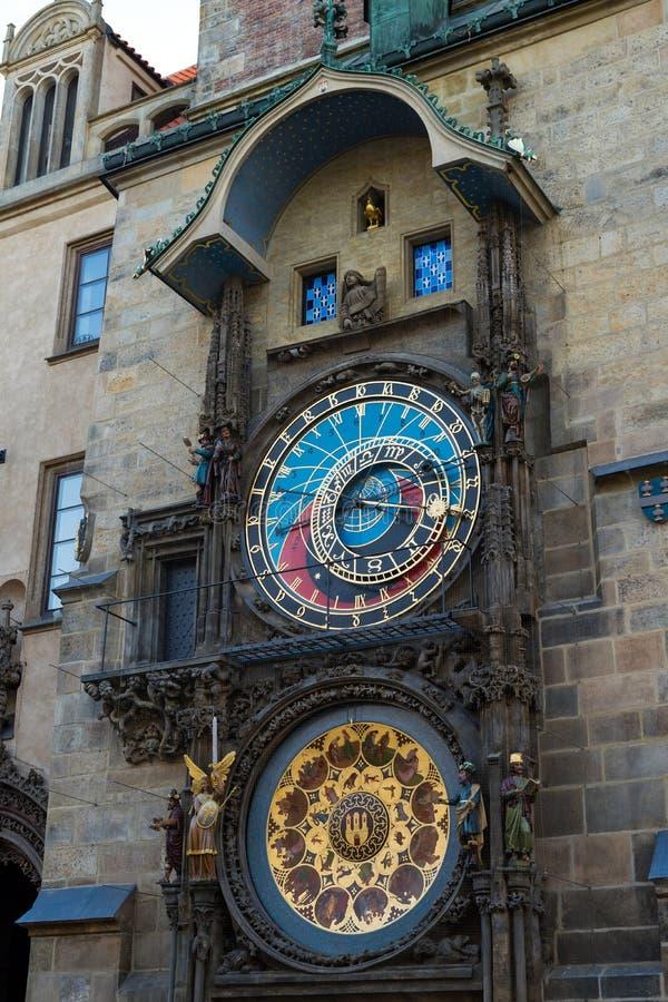 编钟或老天文学时钟在恢复以后在老城广场 库存图片