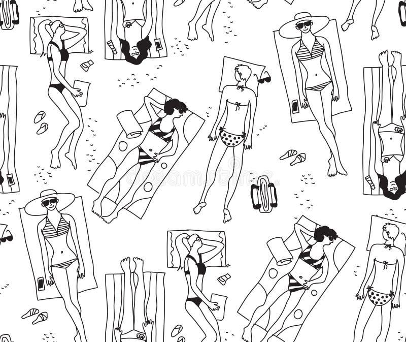 编组妇女海滩太阳夏天休息黑色白色无缝的样式 向量例证