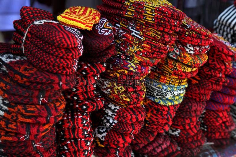 编织拖鞋 土库曼斯坦 拉什哈巴德市场 库存照片
