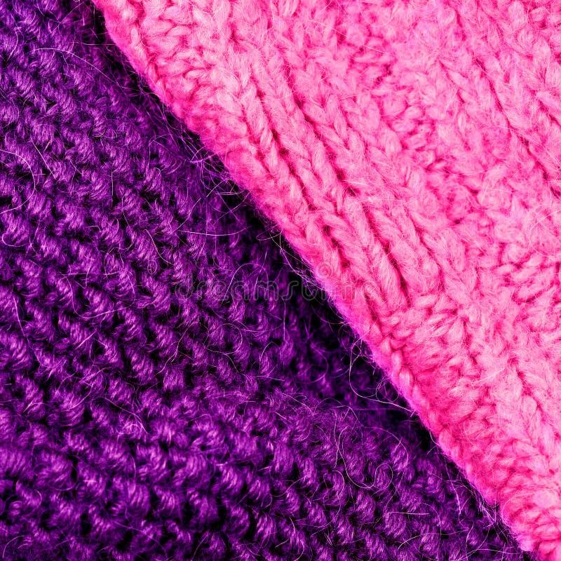 编织羊毛纹理背景的冬天 五颜六色的被编织的hor 库存图片